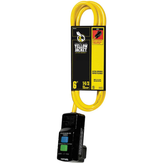 Yellow Jacket 6 Ft. 14/3 Yellow Right Angle GFCI Extension Cord