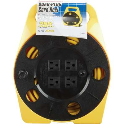 Bayco 25 Ft. of 16/3 Cord Capacity Polypropylene Multi-Plug Cord Reel