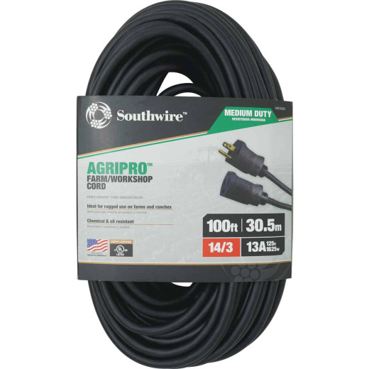 Southwire AgriPro 100 Ft. 14/3 Medium-Duty Farm Extension Cord