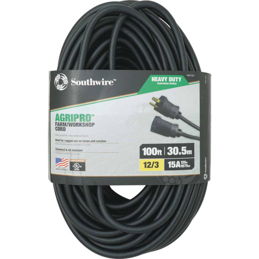 Southwire AgriPro 100 Ft. 12/3 Heavy-Duty Farm Extension Cord