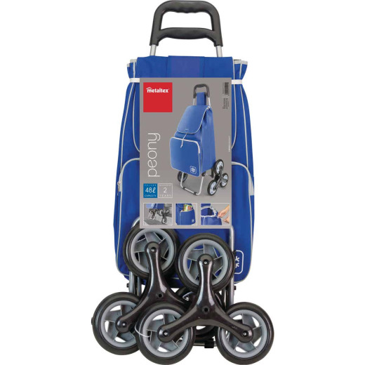 Metaltex Peony Blue 14 In. x 39 In. x 11 In. Soft Sided Tote Stair Climbing Utility Cart