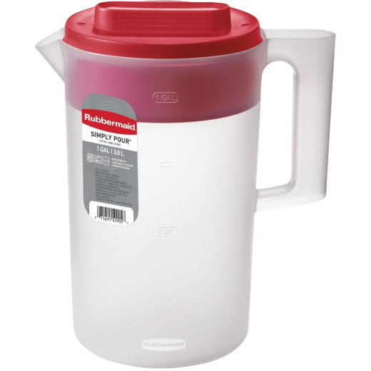 Rubbermaid Frosted Plastic Pitcher with Red Lid, 1 Gal.